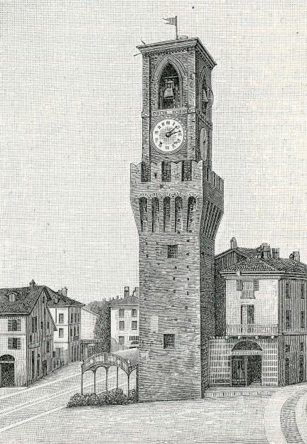 Stradella_torre_con_campanile_in_piazza_del_mercato_xilografia_di_Barberis